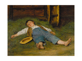 Sleeping Boy in the Hay, 1891-97 Prints by Albert Anker