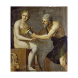 Prometheus Bringing His Clay Statue to Life with the Use of Fire Giclee Print by Camille Pissarro