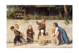 Kindergespann, 1868 Prints by Albert Anker