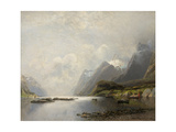 Landscape with Fjord, Steam Boats and Sailing Ships Giclee Print by Adolf Schweitzer