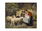 The Pet Lamb Giclee Print by Adolph Eberle