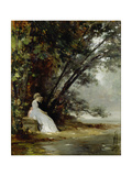 Couple in Landscape of Park, (The Artist and His Bride), before 1865 Giclee Print by Carl Gustav Carus