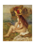 Seated Woman with Straw Hat Giclee Print by Pierre-Auguste Renoir