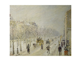 The Boulevards under Snow Giclee Print by Camille Pissarro