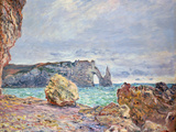 Etretat, Beach and Falaise D'Aval, 1884 Giclee Print by Claude Monet