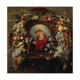 Flower and Fruit Garlands and the Ascension, 1630-40 Giclee Print by Frans Snyders