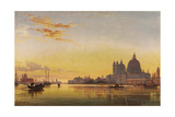 Sunset on the Lagoon of Venice, Church of Isola Di San Giorgio in Alga in the Distance Prints by Edward William Cooke