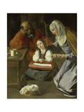 Mary as Child with St. Joachim and St. Anne Lámina giclée por Francisco Zurbaran y Salazar