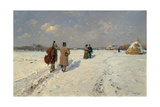 Musicians Returning Home in Winter Giclee Print by Hugo Mühlig