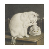 Two White Cats with Books on a Table Giclee Print by Gottfried Mind