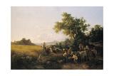 Italienische Landschaft Mit Ochsenwagen Waehrend Der Kornernte Giclee Print by Károly Markó