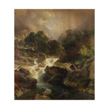 Landscape with Waterfall, 1861 Giclee Print by Johann Gottfried Steffan