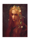 Face of a Young Girl with Flowers in Her Hair (Ophelia), 1876 Giclee Print by Ernest Hébert