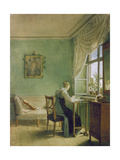 Woman Embroidering Giclee Print by Georg Friedrich Kersting