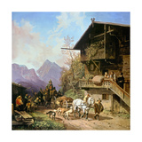 Return from the Bearhunting, 1839 Giclee Print by Heinrich Bürkel