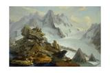 The Lauteraar-Glacier Giclee Print by Caspar Wolf