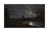 View of Dresden During Fullmoon, 1839 Giclee Print by Johan Christian Clausen Dahl