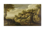 Mountainous Landscape with Town and Resting Couple, Ca. 1610 Giclee Print by Marten Ryckaert