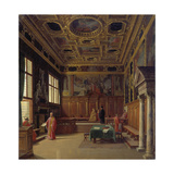 Grand Council Hall of the Doge's Palace in Venice Giclee Print by Heinrich Hansen