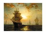 Edward Moran - Segelschiffe Bei Sonnenuntergang Digitálně vytištěná reprodukce