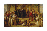 Martin Luther Ninety-Five Theses Being Nailed to the Door of Wittenberg Church Giclee Print by Julius Hübner