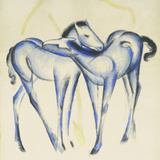 Two Blue Horses Reproduction procédé giclée par Franz Marc