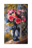 Bouquet of Roses in Blue Vase 1892 Giclee Print by Pierre-Auguste Renoir