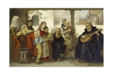 Martin Luther Im Kreise Seiner Familie Musizierend (Mit Cranach Und Melanchthon) Giclée-tryk af Ernst Hildebrandt