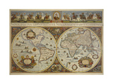 Map in Two Hemispheres with Portrait of Pope Innocent XI, 1676 Giclee Print by  Erdkarte