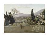 The Gardens of the Villa D'Este, Tivoli Giclee Print by Jean-Baptiste-Camille Corot
