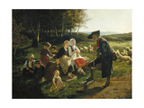 Children Listen to a Shepherd, 1868 Impression giclée par Hubert Salentin