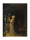Lady in Front of Mirror Lámina giclée por Frans Van Mieris