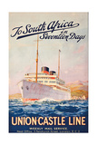 To South Africa in Seventeen Days', an Advertising Poster for Union Castle Line Giclee Print by Maurice Randall