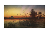 The Pyramids from the Island of Roda at Sunset Giclee Print by Frank Dillon