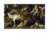 Still-Life with She-Dog and Her Puppies, as Well as a Male and Female Cook, C. 1625 Lámina giclée por Frans Snyders