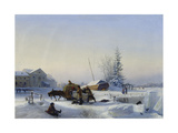 Sledge on Ice (Winter in a Former Wine Village), 1849 Giclee Print by Leo Lagorio