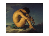 Naked Young Man Sitting by the Sea, 1855 Prints by Hippolyte Flandrin