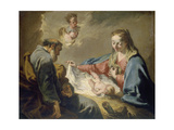 The Holy Family Giclée-tryk af Giovanni Battista Pittoni