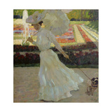 Lady with Dog in the Park of Schleissheim, 1903 Giclee Print by Leo Putz