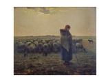 Shepherdess with Her Flock (La Grande Bergere), 1863 Giclée-tryk af Jean-François Millet