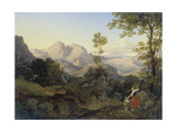 Roman Landscape with Mountains, C. 1825 Giclee Print by Ernst Fries
