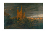 Cathedrale (A Town on a River) Giclee Print by Karl Friedrich Schinkel