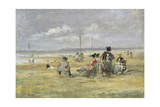 Beach Scene, Trouville Giclee Print by Eugène Boudin