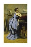 The Woman in Blue, 1874 Impression giclée par Jean-Baptiste-Camille Corot