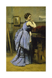 The Woman in Blue, 1874 Giclee Print by Jean-Baptiste-Camille Corot