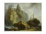 Landscape in the High Alps with Resting Mountaineers and the Painter Giclee Print by Caspar Wolf