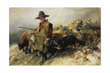 Young Shepherd in the Snow, C. 1872 Giclee Print by Heinrich von Zügel