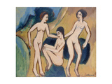 Three Bathers at the Beach, 1913-20 Giclee Print by Ernst Ludwig Kirchner