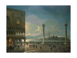 Piazza San Marco by Moonlight, Venice Giclee Print by Giovanni Grubacs