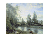 On the Riverbank Giclee Print by Jean-Baptiste-Camille Corot